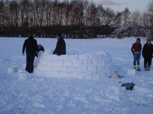 Building an igloo in Chorlton Meadows