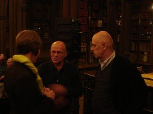 Janet Wilkinson, Rylands Director, talks to Michael Schmidt (centre) and James Fenton (right)