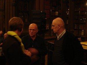 Janet Wilkinson, Rylands Director, talks to Michael Schmidt (centre) and James Fenton (right)