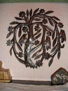 Tree of Life is a circular metalcut, devised for use on oildrum heads