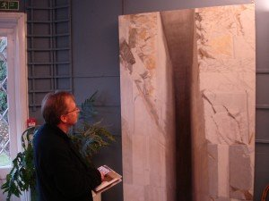 Admiring 'Fantiscritti Portal', one of the most remarkable Carrara paintings