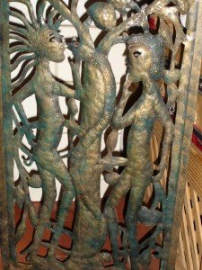 Haitian Adam and Eve, steel screen panel