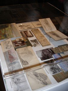 Some of the many sketchbooks and photographs on display